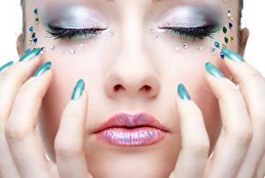 Picture Closeup Fingers Lips Face Manicure Makeup female