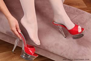Picture Closeup Legs Hands Stilettos Pantyhose