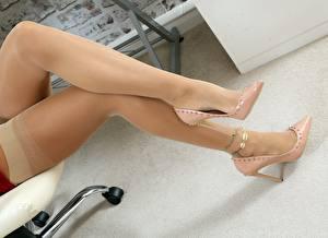 Photo Closeup Legs Stilettos Stockings Girls