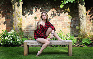 Pictures Bench Sitting Legs Formal shirt Staring Beautiful Connie young woman
