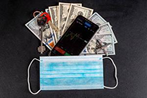 デスクトップの壁紙、、冠狀病毒病、仮面、貨幣、ドル、グレーの背景、スマートフォン、鍵、