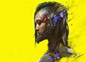Hintergrundbilder Cyberpunk Farbigen hintergrund Kopf Fantasy Mädchens