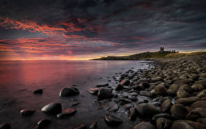 Pictures England Coast Castle Stone Sunrises and sunsets Dunstanburgh Castle Nature