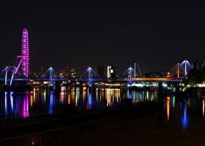 Papel de Parede Desktop Inglaterra Rio Ponte Londres Noite Thames