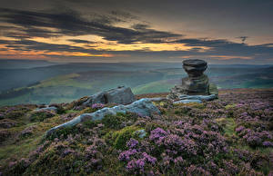 Picture England Stones Evening Hill Clouds Peak District Nature
