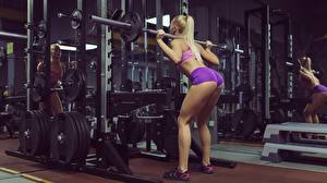 Picture Fitness Gym Blonde girl Barbell Ass buttocks Legs Workout Crouches Girls