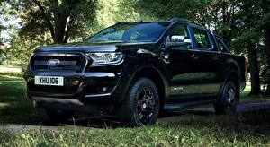 Papel de Parede Desktop Ford Grama Preto Pickup Ranger, Limited Black Edition, Double Cab, 2017 carro