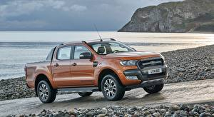 Bilder Ford Stein Pick-up Orange Ranger, Wildtrak, 2015 Autos