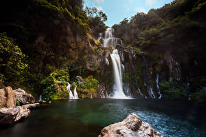 Pictures France Waterfalls Cliff Bassin des Aigrettes Nature