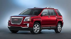 Photo GMC CUV Gray background Red Terrain, SLT, 2015