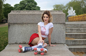 Pictures Sitting Legs Skirt T-shirt Roller skates Staring Georgia young woman