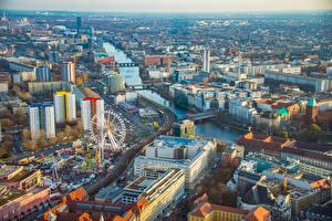 Обои Германия Берлин Дома Реки Колесом обозрения Сверху город