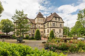 Bureaubladachtergronden Duitsland Huizen Landschapsontwerp Neuenheerse Steden