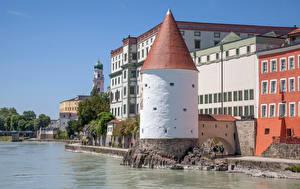 Fotos & Bilder Deutschland Haus Flusse Bayern Turm Waterfront Passau Städte