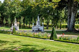 Tapety na pulpit Niemcy Poczdam Parki Rzeźbiarstwo Drzewa Trawnik Park Sanssouci Natura