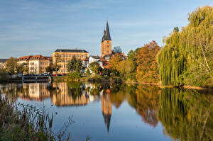 Pictures Germany Rivers Houses Reflection Altenburg Cities