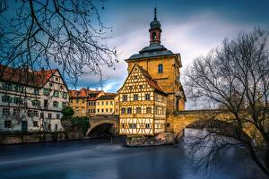 Picture Germany Rivers Building Bridge Bamberg, Regnits River Cities