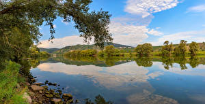 Wallpapers Germany River Sky Trees Mosel River Nature