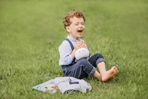 Pictures Grass Boys Sitting Laughter Joy Bokeh Children