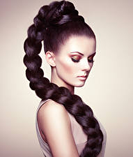 Pictures Gray background Brunette girl Hair Makeup Plait female