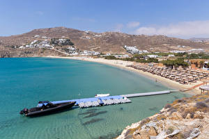 Wallpaper Greece Coast Berth Building Powerboat Beaches Kalo Livadi, Mykonos Nature
