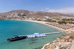 Desktop hintergrundbilder Griechenland Küste Bootssteg Gebäude Motorboot Strände Kalo Livadi, Mykonos Natur