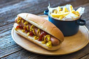Pictures Hot dog Buns Vienna sausage Fast food Senape Ketchup