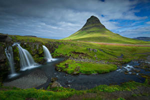 Wallpaper Iceland Mountains Waterfalls Clouds Kirkjufell Nature