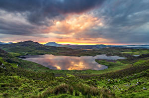 Image Ireland Mountains Lake Sunrise and sunset Clouds Donegal