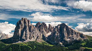 Wallpaper Italy Mountain Alps Clouds Dolomites, Trentino-Alto Adige Nature