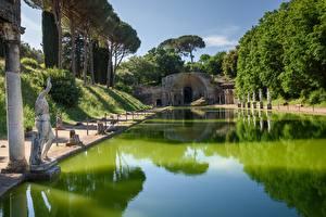 Papel de Parede Desktop Itália Esculturas Parques Villa Adriana, Tivoli