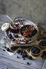 Image Fruit preserves Berry Blueberries Blackberry Wood planks Jar