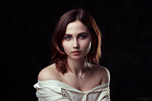 Pictures Pretty Staring Black background Brown haired Julia, Evgeniy Bulatov Girls