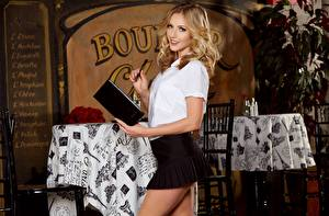 Wallpapers Restaurant Waitress Blonde girl Staring Smile Skirt Karla Kush young woman