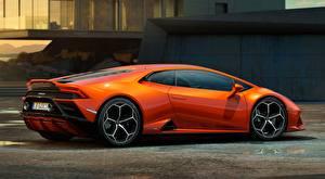 Tapety na pulpit Lamborghini Coupé Pomarańczowy Widok z boku Huracan EVO, 2019 samochód
