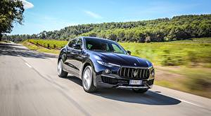 Photo Maserati Roads Black CUV Moving Blurred background Levante S Q4, GranLusso, 2018 automobile