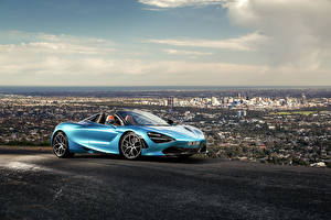 Wallpapers McLaren Light Blue Roadster 2019-20 720S Spider auto