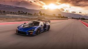 Sfondi desktop McLaren Blu colori Metallizzato Movimento 2019-20 Senna macchine