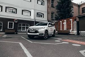 Picture Mitsubishi SUV White Metallic Parked  automobile
