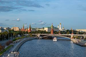 Wallpapers Moscow Russia River Bridge Riverboat Moscow Kremlin Moscow-river Cities