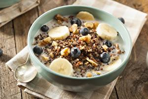 Picture Muesli Bananas Blueberries Bowl Food