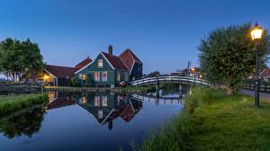 Photo Netherlands Building Bridges Street lights Grass Canal Zaandam, Noord-Holland