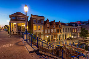 Images Netherlands Houses Evening Street lights Maassluis Cities