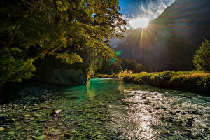Photo New Zealand Mountain River Sun Trees Mount Aspiring National Park