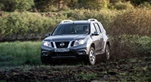 Wallpaper Nissan Moving Mud Sport utility vehicle Silver color Terrano, RU-spec, 2014 Cars