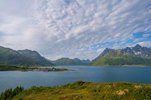 Fonds d'écran Norvège Îles Lofoten Montagnes Nuage fjord