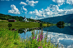 Picture Norway Mountains Church Clouds Ulnes Nature