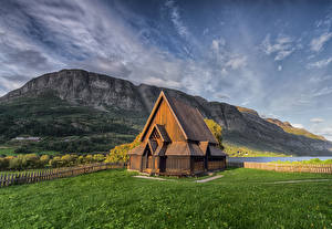 Picture Norway Mountain Church From wood Valdres