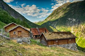 Fonds d'écran Norvège Montagne Bâtiment Vestlandet