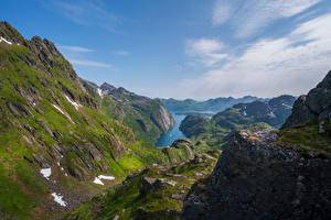 Bureaubladachtergronden Noorwegen Berg Lofoten klif landform Trollfjord, fjord